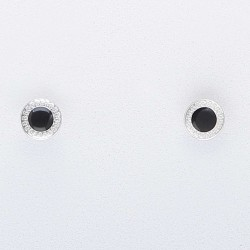 Pendientes labrados con esmalte central negro
