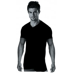 Camiseta térmica de manga corta ycuello pico. Interior afelpado.
