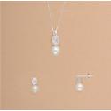 Conjunto Plata Ley Perlas y Circonitas
