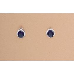 Pendientes Ovalados Circonita Azul Cierre Omega Plata Ley