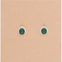 Pendientes Ovalados Circonita Verde Cierre Omega Plata Ley