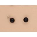Pendientes Bola 10mm Plata Ley Color negro