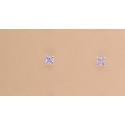 Pendientes Circonita Cuadrada 4mm Plata de Ley 925mm.