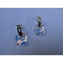 Pendientes circulares de plata y cristal de Swarovski.